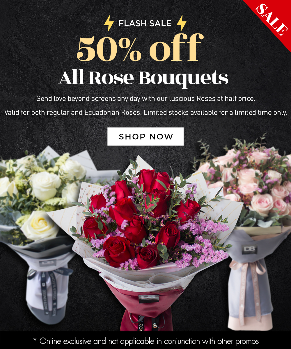 DB 50% off all roses mobile banner